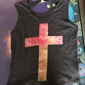 Forever 21 Galaxy Cross Ripped Tank
